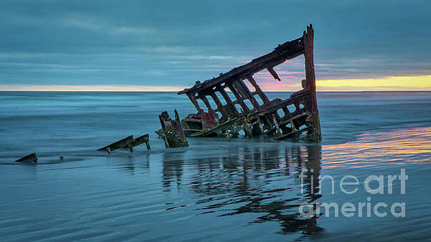 Sunset at Peter Iredale 1 by Jerry Fornarotto
