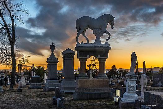 Sunset at Riverside Cemetery by Stephen  Johnson