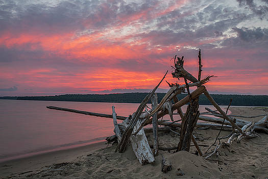 Sunset at Sand Point - Pictured Rocks by Marybeth Kiczenski