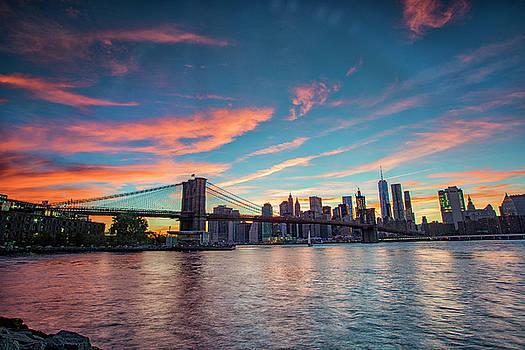 Sunset at the Brooklyn Bridge by Dennis Clark