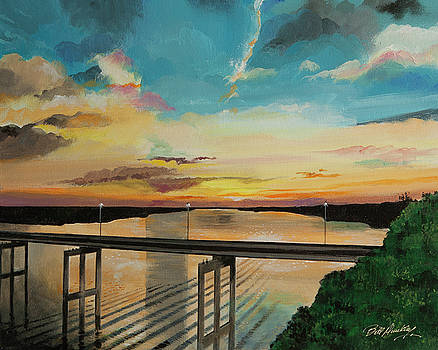 Sunset at the Community Bridge by Bill Dunkley