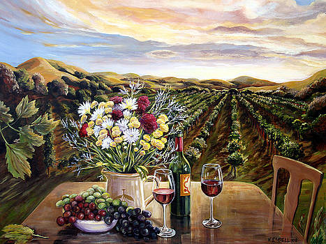 Sunset at the Vineyards by Nancy Isbell
