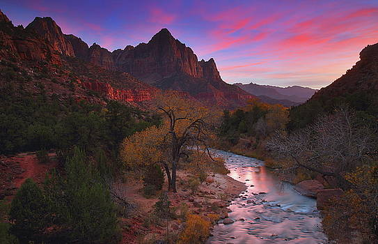 Sunset at the Watchman during autumn at Zion National Park by Jetson Nguyen