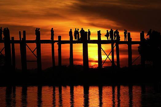 Sunset at U Bein Bridge Myanmar by Kurt Van Wagner