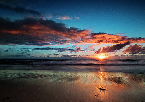 Sunset at Unstad beach, Norway by Frank Olsen