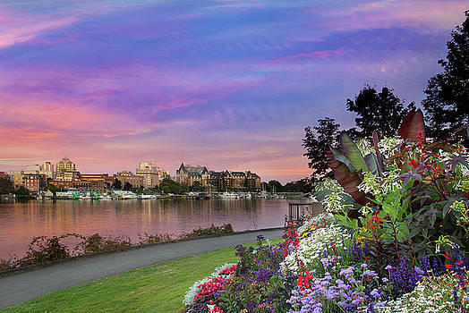 Sunset at Victoria BC  Inner Harbour by David Gn