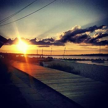 #sunset #beach #boardwalk #boats #sky by Melanie Conway