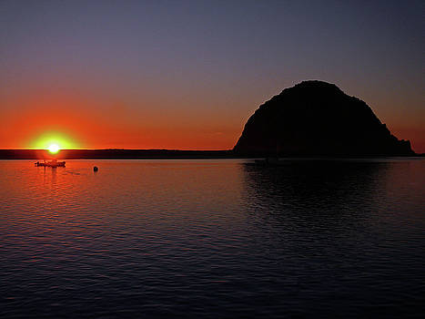 Sunset behind Morro Rock by Dave Sribnik