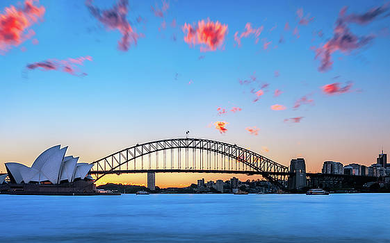 Sunset behind Opera House and Sydney Harbour Bridge by Daniela Constantinescu