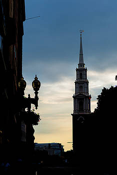 Sunset Behind the Steeple at the Boston Common by Thomas Logan