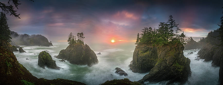 Sunset between Sea stacks with trees of Oregon coast by William Freebillyphotography