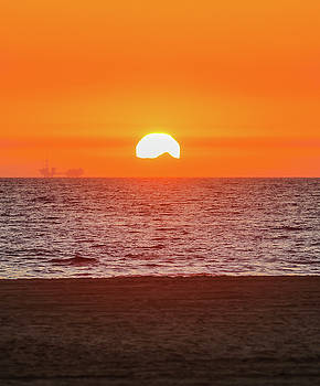 Sunset Beyond Catalina Island From Huntington Beach by Hyuntae Kim