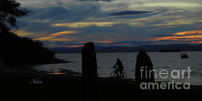 Felipe Adan Lerma - Sunset Bicycle at Earth Clock Burlington Vermont Panorama