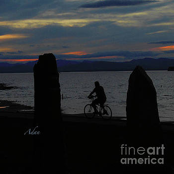Felipe Adan Lerma - Sunset Bicycle at Earth Clock Burlington Vermont Square