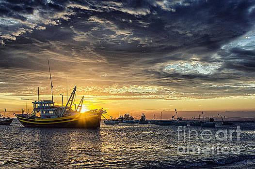 Sunset Boat by Christos Koudellaris