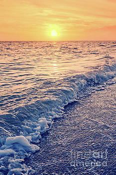 Sunset Bowman Beach Sanibel Island Florida Vintage by Edward Fielding