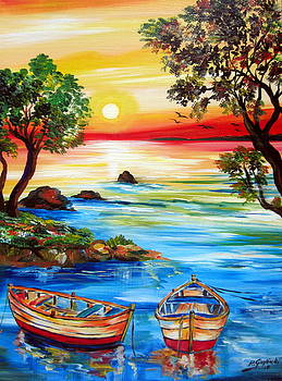 Sunset By The Lake With Boats by Roberto Gagliardi