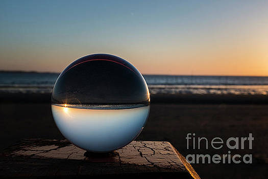 Sunset Captured In Glass Crystal Sphere by Compuinfoto