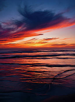 Sunset Clouds, Ocean Ripples, Cape Lookout by Randal Ketchem
