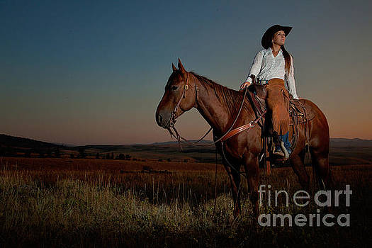 Sunset Cowgirl by Terri Cage