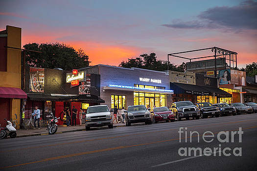 Herronstock Prints - Sunset falls on South Congress Avenue, a popular shopping and live music district in downtown Austin, Texas