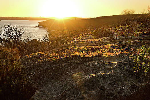 Sunset Falls Over North Head Rocks by Miroslava Jurcik