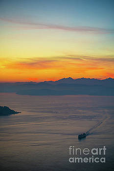 Sunset Ferry Rounding Alki Point by Mike Reid