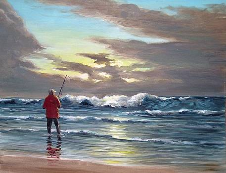 Sunset fishing off Newport by Perrys Fine Art