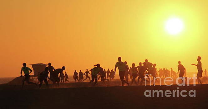Sunset Football Huntington Beach by Linda Queally