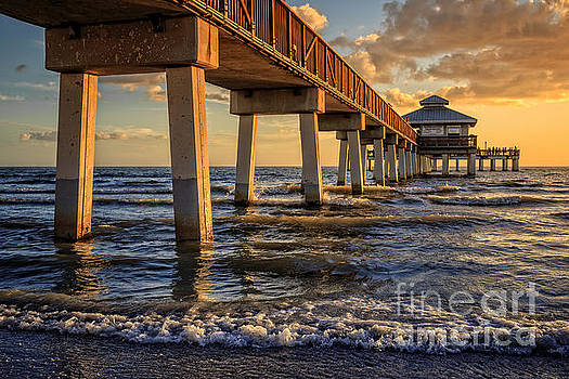 Sunset Fort Myers Beach Fishing Pier by Edward Fielding