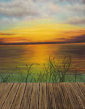 Sunset From The Dock by Brenda Maas