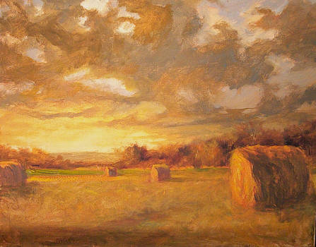 Sunset Hay Bales by Margaret Aycock