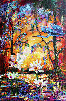 Ginette Callaway - Sunset Heron Over Lotus Pond