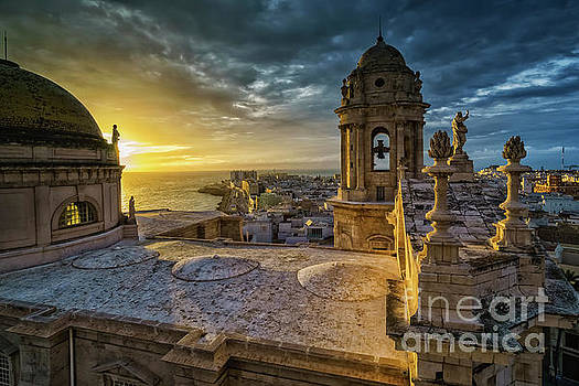 Sunset in Cadiz Cathedral View from Levante Tower Cadiz Spain by Pablo Avanzini