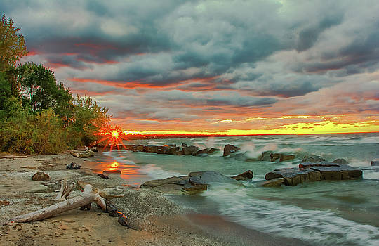 Sunset in Rocky River, Ohio by Richard Kopchock