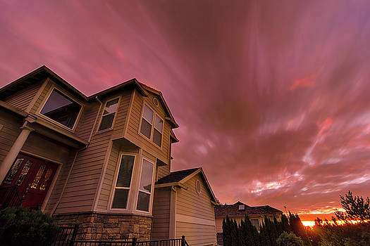 Sunset in Suburban Neighborhood Homes by Jit Lim