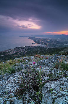 Sunset in to the mountain in croatia by Andriy Stefanyshyn