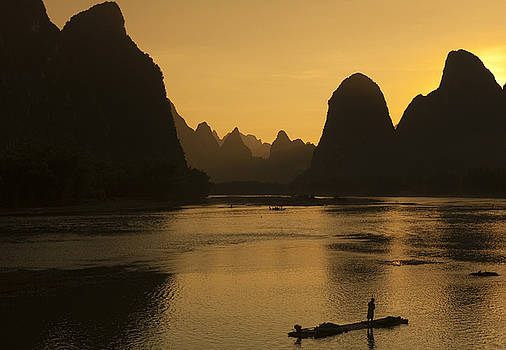 Sunset in Yangshuo Li river Guilin China  by Kamala Saraswathi