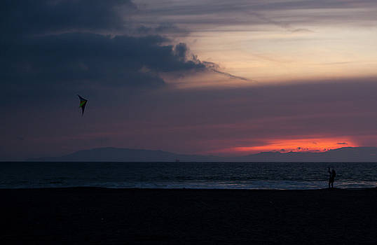 Sunset Kite Flying in Oxnard by Mythic Ink