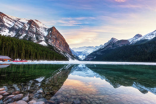 Sunset Lake Louise by Russell Pugh