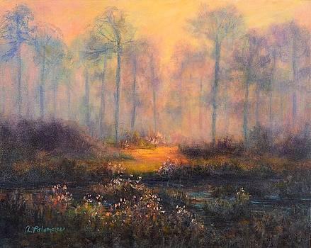 Sunset Marsh Jekyll Island Painting by Amber Palomares