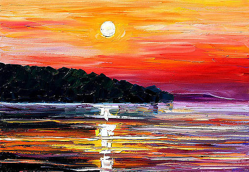 Sunset Melody - PALETTE KNIFE Oil Painting On Canvas By Leonid Afremov by Leonid Afremov