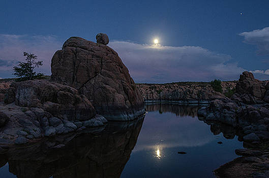 Sunset moon reflection by Gaelyn Olmsted