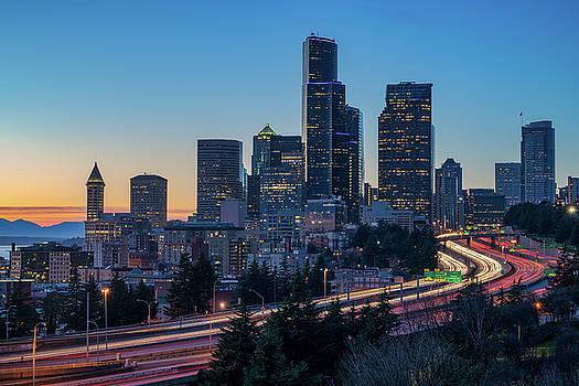 Sunset Night-Freeway Lights by Ken Stanback