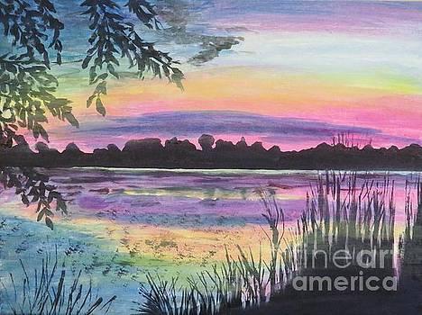 Sunset on Buck Pond by Judy Via-Wolff