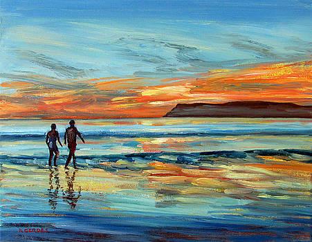 Sunset on Coronado Beach with Figures by Robert Gerdes