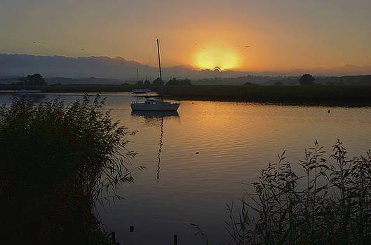 Sunset on Exe Estuary at Topsham in Devon by Pete Hemington