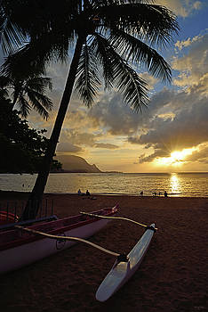 Sunset on Hanalei by Kathy Yates