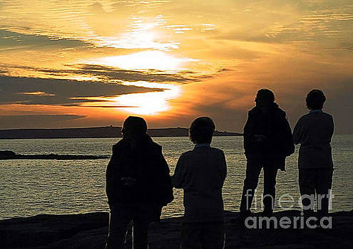 Sunset on Inisoir, Aran, from Doolin. by Val Byrne