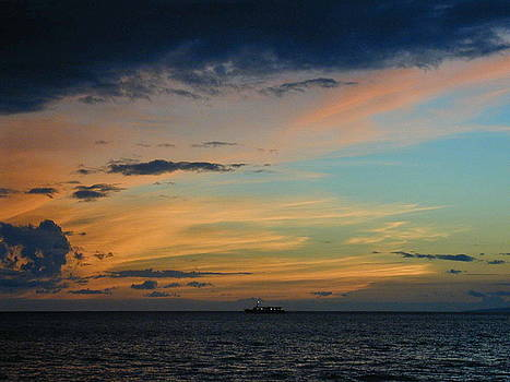 Sunset on Kaanapali by Cathy P Jones